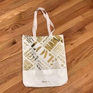 LULULEMON WHITE LOVE LARGE SHOPPING BAG